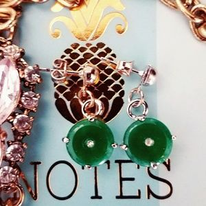 Jewelry - 🎄Jade Crystal Silver Dangle Earrings Round